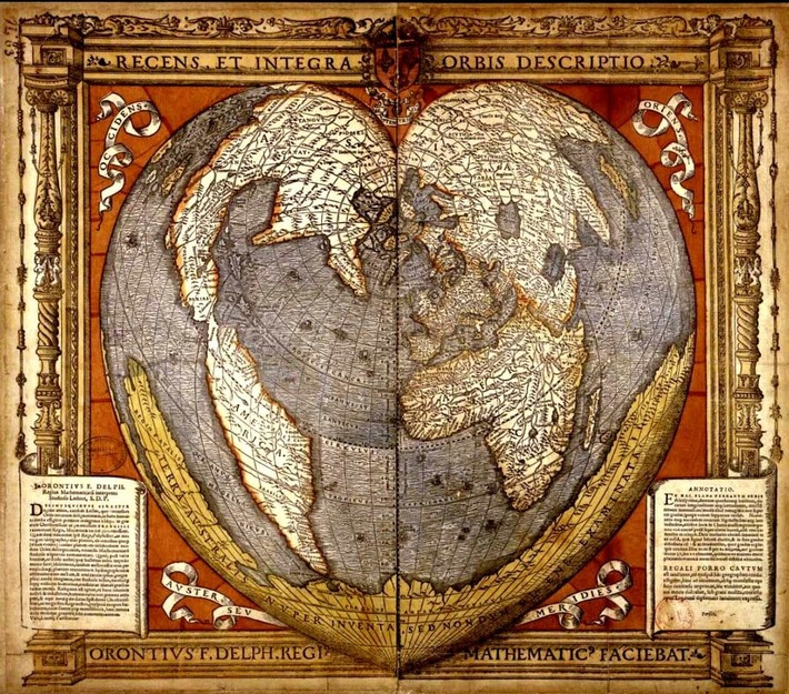 Heart-shaped map showing the Southern Land ( Recens et integra orbis descriptio ), by Oronce Fine, in 1534-1536.