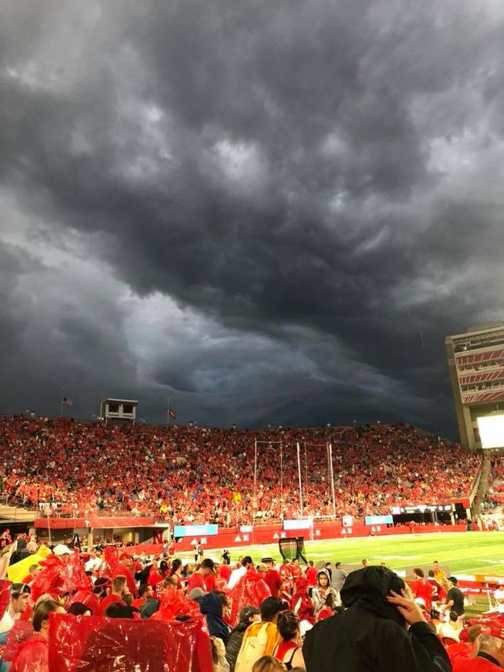 Clouds during the weather delay from the Nebraska Akron game