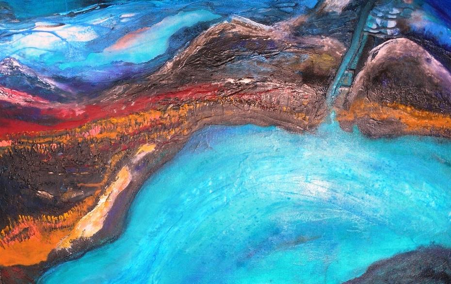 Imaginary Rio Patia acrylics, stucco, ink on canvas RLO junio 2018