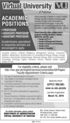 Virtual University of Pakistan (VU) Professor, Associate Professor, Assistant Professor Academics Job Opportunities Last Date to Apply March 15, 2019