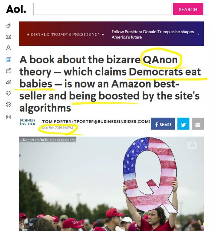 AOL Headline March 5th, 2019 Qanon Article