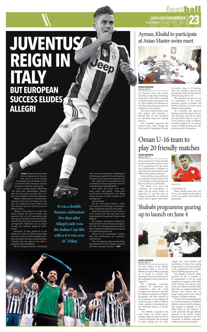 JUVENTUS REIGN IN ITALY BUT EUROPEAN SUCCESS ELUDES ALLEGRI