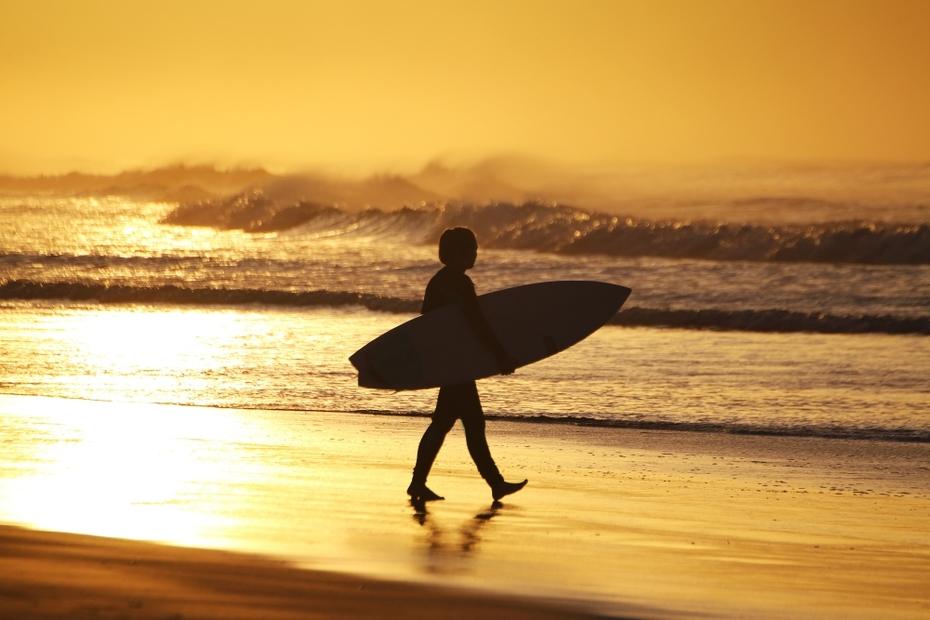 sunrise surfer girl