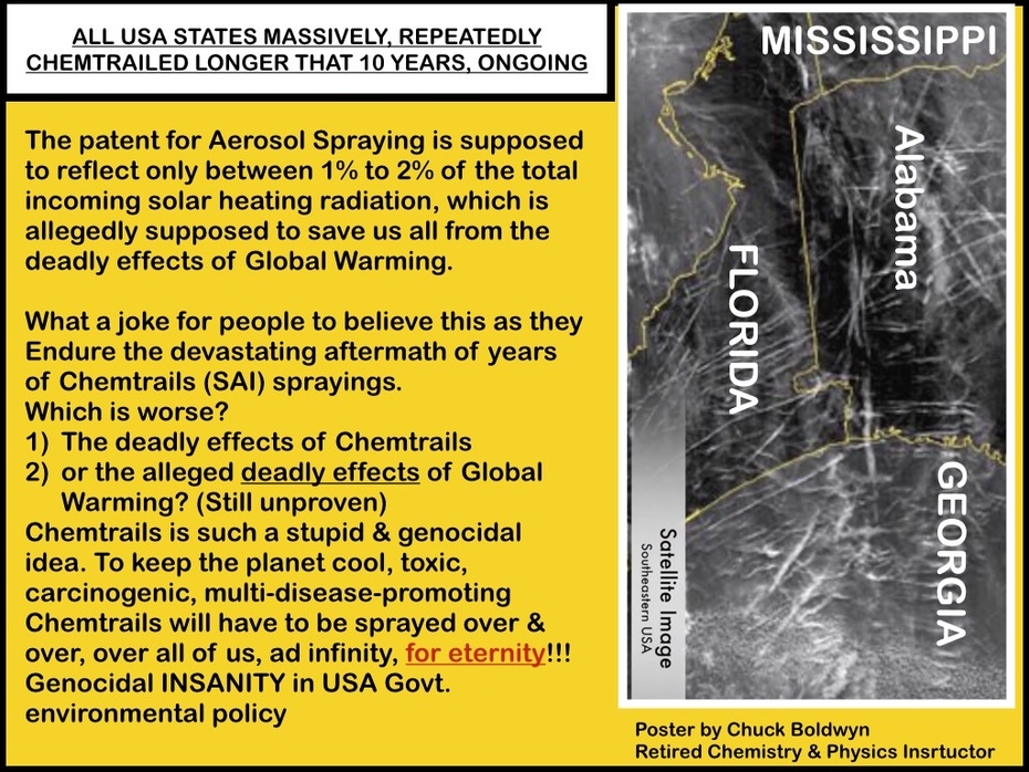 To save us all from  alleged Global Heating, the USA Government plans to Toxins Chemtrails spray us. Repeatedly, over & over & over, endlessly as It claims there is no other solution to Global Warmin