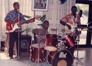 """Jazz trio  """"No Dogs Allowed"""" at Busua Beach in Ghana"""
