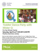 Toddler Dance Party with Mister Q at Sanchez Library