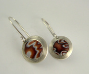 Brown, honey & white polymer clay earrings