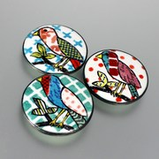 Crazy Quilt Bird Brooches
