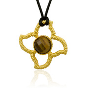 """18K Gold over Sterling Silver Stones in Stars Pendant with 16mm Faceted Tiger's Eye on 30"""" Silk Cord -SS-4008YTE"""