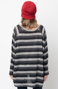 Shop for Black Hi Lo Long Sleeve Dolman Striped Sweater Tunic on -Caralase