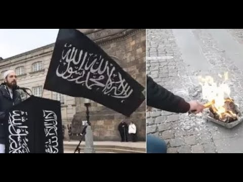 Terror Linked Hizb ut Tahrir Holds Radical Protest Right Besides the Danish Parliament Waving Jihad…