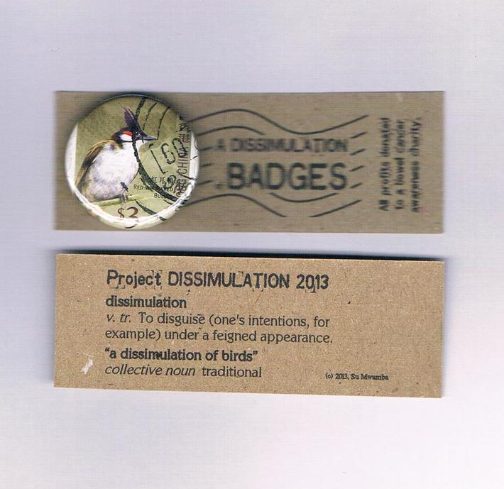 Project Dissimulation - upcycled bird badge