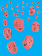 Faces on Blue