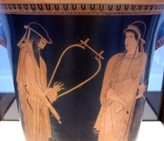 Alcaeus and Sappho with lyres