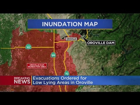 Oroville Dam Emergency Spillway Eroding, Evacuations Ordered
