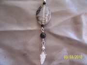 Dragonskin oval twist w jet n rock crystal point
