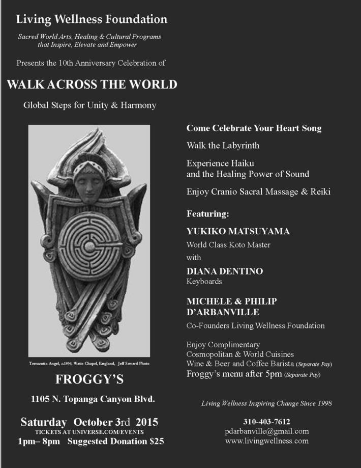 0 LWF WALK ACROSS THE WORLD 10th Anniversary FROGGYs ANGEL POSTER 9-25-15