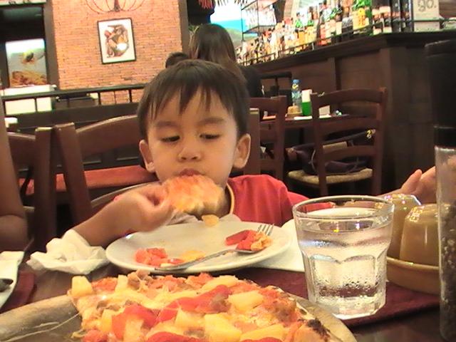 Enjoy his pizza