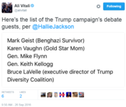 Trump is bringing a Benghazi survivor and Gold-star mother to the debate (