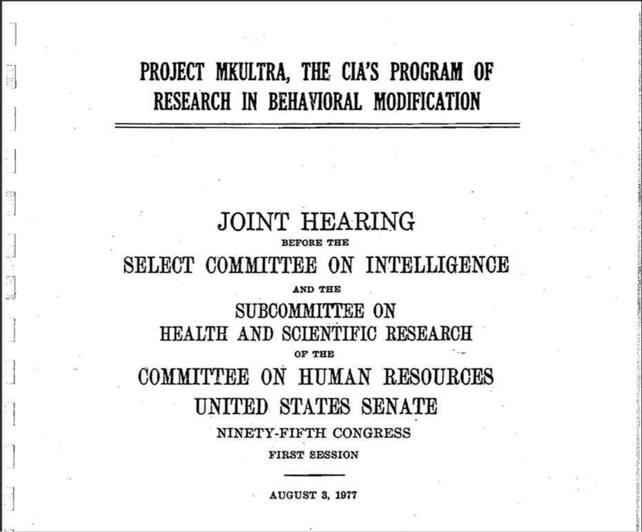 MKULTRA JOINT HEARING TITLE PAGE