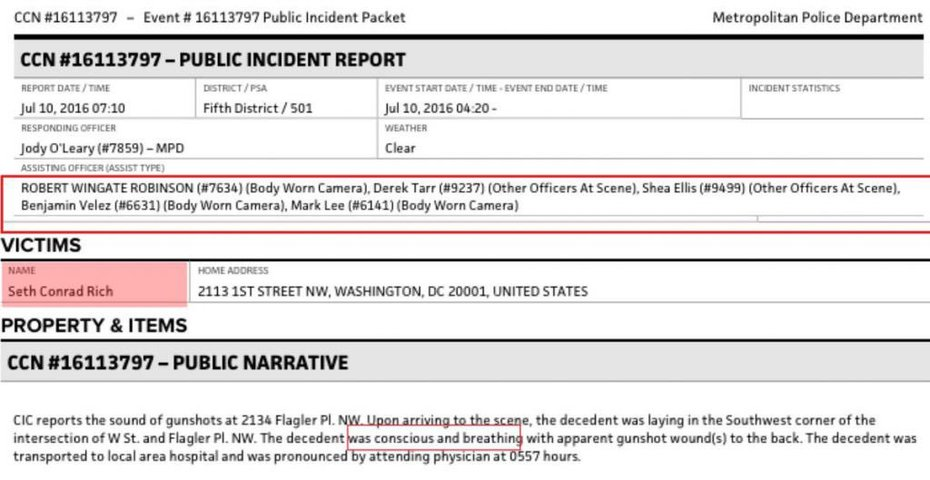 """Seth Rich was alive/awake when cops found him, died at hospital. Cops wore body cameras. What did he say to cops/what did body cams capture?"""""""