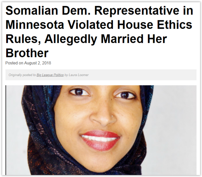 Democrat Rep from Minnesota Accused of Being Married to Her Biological Brother - Corruption and Perversion makes her the perfect Democrat