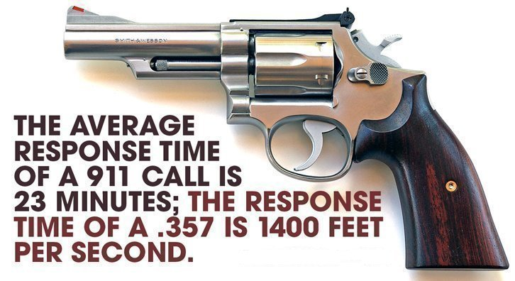 The Average Response Time of a 911 call is 23 Minutes; The response time of a .357 is 1400 feet per second