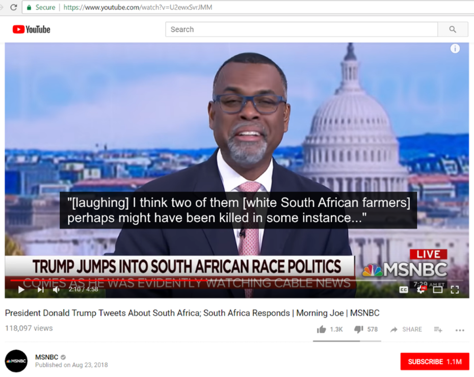 "MSNBC denies white genocide in South Africa, laughs about it, claims only ""two"" people ""perhaps might have been killed"""