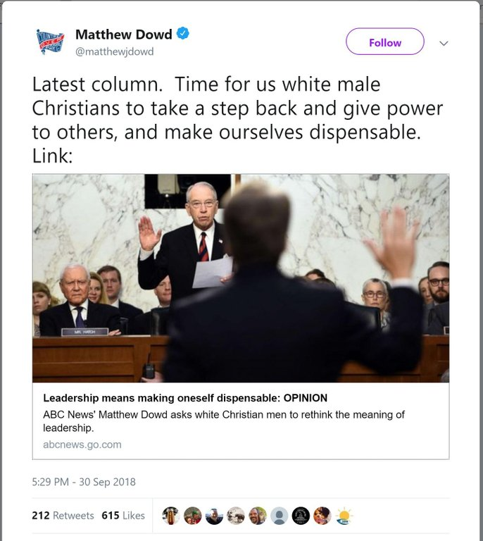 """ABC News Fully Embraces Racism: """"Time for us white male Christians to take a step back and give power to others, and make ourselves dispensable."""""""