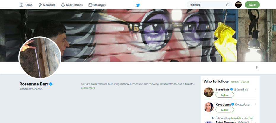 @12160mhz You are blocked from following @therealroseanne ----  and viewing @therealroseanne's Tweets