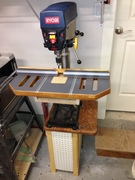 New Drill Press table - Added some stain to the wood and test fitting the T track on the fence.