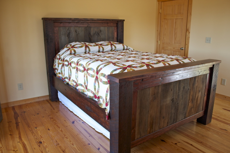 Dumpster Barn Siding Wood- With quilt that I made last winter.