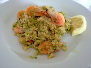 Prawns and Courgette risotto with lemon sauce