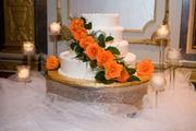 Orange Roses Wedding Cake