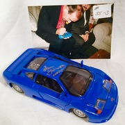 """#35-3, The Late Jan Gaberial, (Sunday, Sunday, Sunday)(Host of TV Show"""" The Super Chargers"""") Signing, 1/24 scale, Diecast, 1992, Maisto, Bugatti,"""
