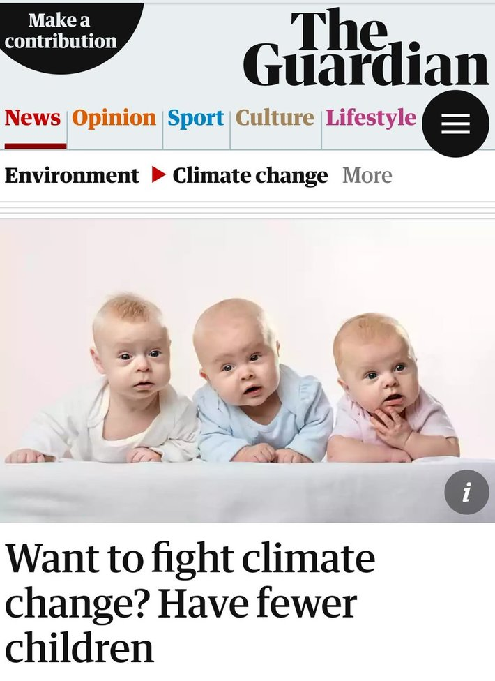 UK Guardian - Europeans Fight Climate Change Have Fewer Children