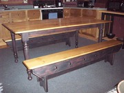 Antique farm kitchen table and benches