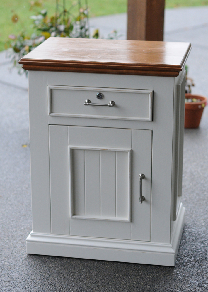 White Distressed Night Stand