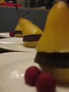 Saffron & cardamom pear with dark choc truffle