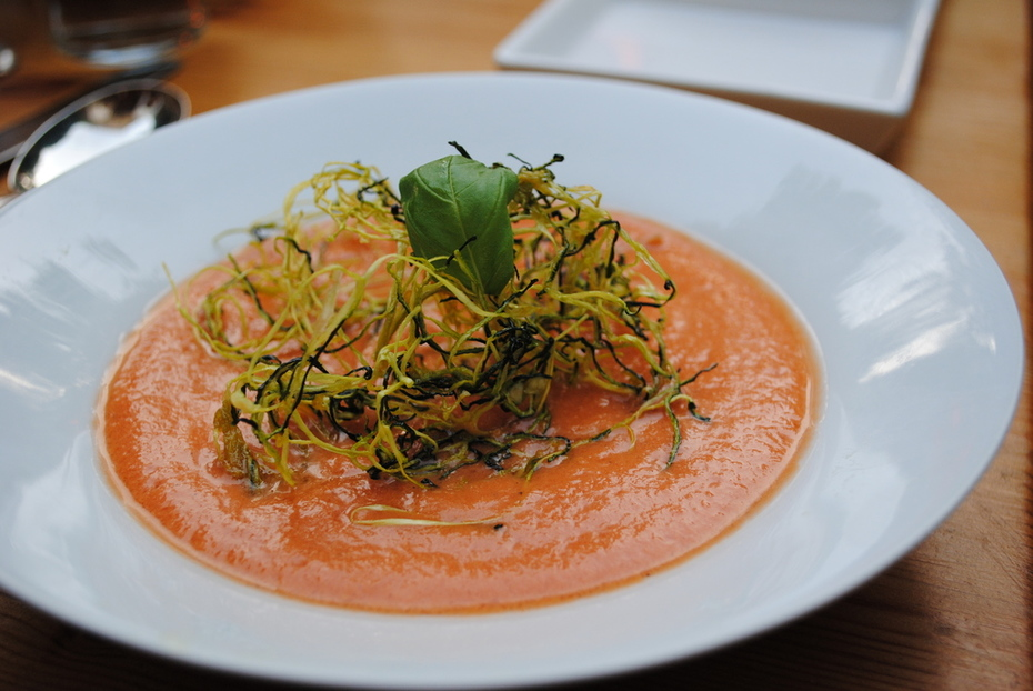 Gazpacho with raw garlic courgette noodles