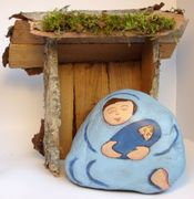 Mother & Child Painted Nativity Rock