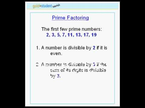 GoldStudent.com - Prime Factoring 1st tutorial
