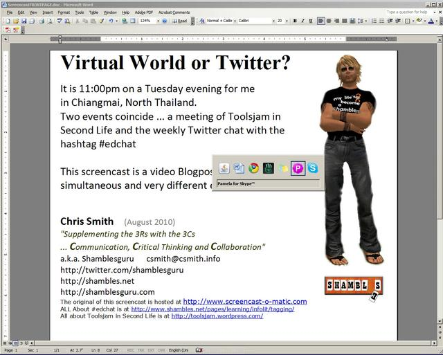 Twitter Chat vs Second Life (Virtual World)