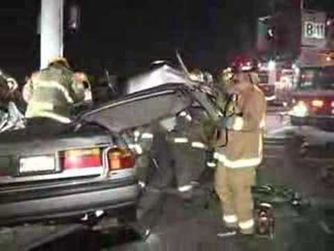 Pole Embedded in Car With Extrication