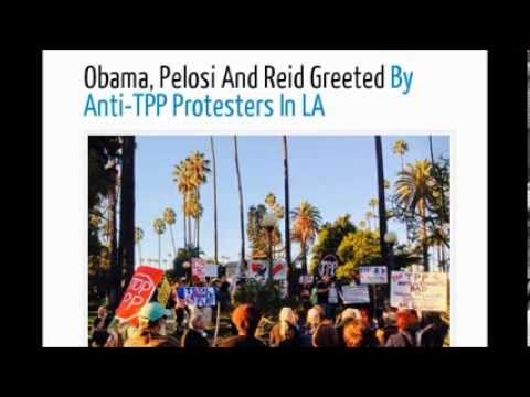Obama, Pelosi And Reid Greeted By Anti TPP Protesters In LA. Magic Johnson home.