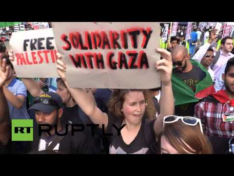 Angy mob protest BBC 'biased reporting' on Gaza in London