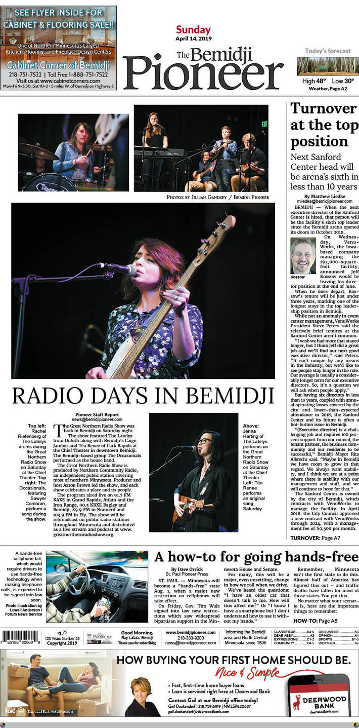 The Bemidji Pioneer front page 4/14/2019