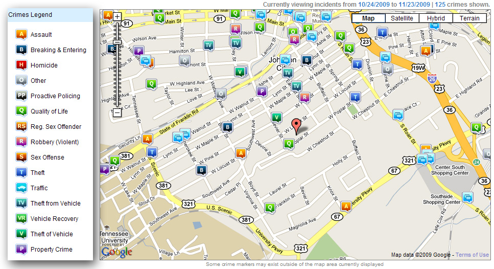 Nov 2009 Crime Map