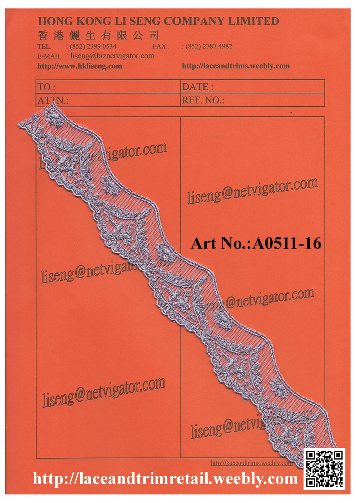 Embroidered Net Lace Trims Art No.:A0511-16