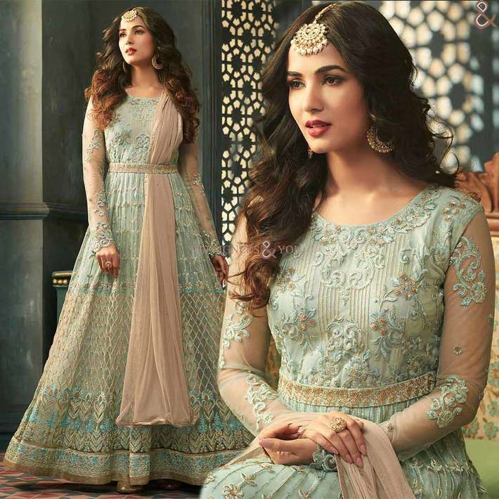 Eclectic Green Chain Stitch Empire Anarkali For Pear Shaped Girl